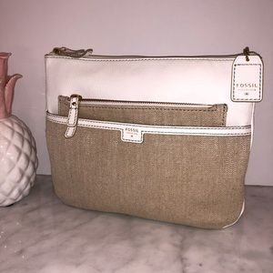 Fossil white leather & beige canvas crossbody 😎💕